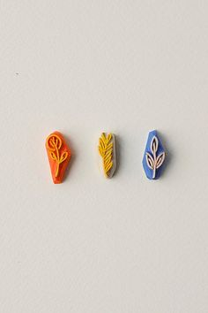 Botanical Rubber Mini Stamps set of 3 Botanical by WoodlandTale