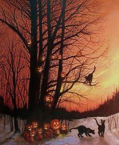 .black cats and pumpkins