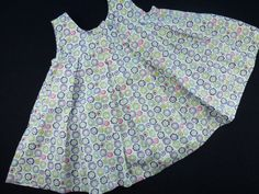 Vintage inspired baby pinafore white with blue and green