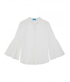 MIH Jeans White Goldie Blouse: A Japanese crinkle cotton cheesecloth lends this MIH blouse a romantic vintage texture. The modern collarless design and fluted sleeve gives a different take on a simple and classic white shirt, it will easily become a staple in your wardrobe all year round. If you want to continue the flared boho look, pair with a light wash cropped flare and a loafer for a relaxed chic look.  -Straight fit -Dropped shoulder -Circle cut sleeve -Button down front