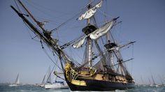 "French replica ""Hermione"" a revolutionary frigate sets sail for Boston - Fox News 4.19.15"