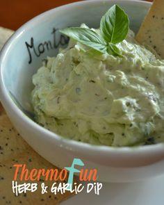 ThermoFun – Herb and Garlic Dip Recipe Dip Recipes, Low Carb Recipes, Dinner Recipes, Garlic Dip, Decadent Food, Nutritious Meals, Snacks, Food Hacks, Breakfast Recipes