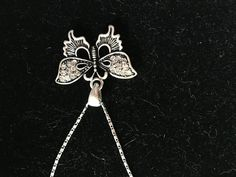 Silver Chain Necklace with Silver and Clear Swarovsky Crystal Butterfly Pendant - pinned by pin4etsy.com