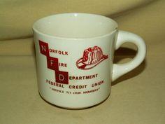 NORFOLK FIRE DEPARTMENT CREDIT UNION MUG VA VIRGINIA VINTAGE USA SERVICE MEMBERS