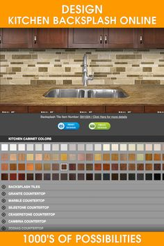 Kitchen backsplash designer. Create your kitchen and select your kitchen backsplash tile. Online kitchen backsplash tile designer from Backsplash.com