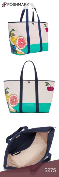✨NWT✨ Tory Burch Penn Fruit Large Beach Tote Bag NWT! Authentic Tory Burch Penn fruit applique large canvas tote. Convenient top zip closure to prevent all of your goodies from falling out. Interior has 1 large pocket(big enough for your ipad/tablet) and one cell pocket. The tote is natural/turquoise color with navy trim and multi color fruit applique. This tote is large, please check measurements! This bag is perfect for travel, vacation, the beach/pool, or for every day use if you love big…