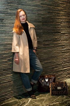Rocking our Brown Large Mock Croc Leather Tote Bag with a classic coat! #fashion #leather #tote #bag #model #shoes #bags www.vcdltd.com