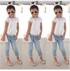 Details about Toddler Kids Baby Girls Denim Shirt+Skirt Dress Summer Outfits Clothes Set - Peppers Style - Little Girl Outfits, Cute Outfits For Kids, Little Girl Fashion, Toddler Fashion, Toddler Outfits, Kids Fashion, Fashion 2016, Denim Fashion, Dress Fashion