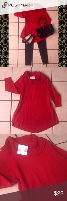 T u n i c  S w e a t e r Gorgeous red tunic sweater with 3/4 sleeves. This sweater has subtle sparkle threads woven into it. Great with leggings and flats or boots! New with tags! Sag Harbor Sweaters Cowl & Turtlenecks