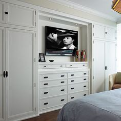 Cindy Ray Interiors: Bedroom built-ins with white built-in cabinets flanking whi. Cindy Ray Interiors: Bedroom built-ins with white built-in cabinets flanking white built-in dresser, TV and . Master Bedroom Organization, Home, Bedroom Wardrobe, Master Bedroom Closet, Bedroom Design, Built In Dresser, Bedroom Built Ins, Build A Closet, Remodel Bedroom