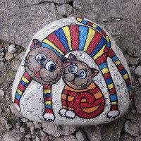cartoon cats - very cute - painted rock
