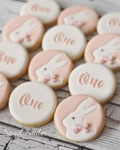 Bunny first birthday cookies More First Birthday Cookies, First Birthday Themes, Baby Girl 1st Birthday, Bunny Birthday Cake, Birthday Ideas, Birthday Cakes, Gateau Baby Shower, Bunny Party, 1st Birthdays