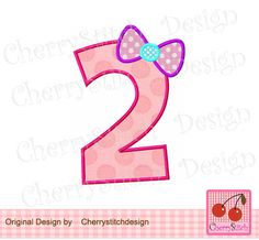 Birthday number 2 with bow- digital embroidery applique-4x4 5x7 6x10-Machine Embroidery Applique Design by CherryStitchDesign on Etsy