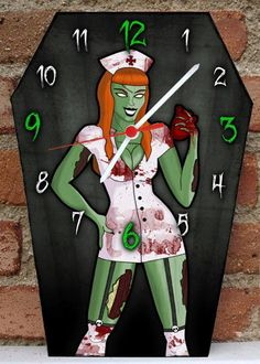 Wooden wall coffin-clock Lilith. Handmade clock with own