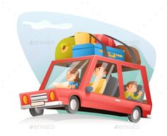 Family Car Travel Cartoon Design