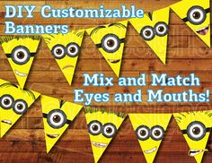 Printable Minion Birthday Decoration - Minion Party Bunting Kit Instant Digital Download / Minion Ba