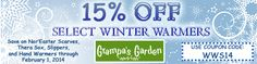 Save 15% on Select Winter Warmers! View our latest Newsletter for coupon code and sale products.   http://us2.campaign-archive2.com/?u=4803c7e444d44b4393bb3a5f6&id=e7d878d58f
