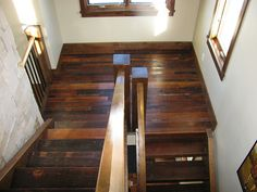 Reclaimed wood stairway. Check out more at reclaimdesign.co