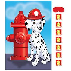 This Firefighter Party Game Features A Dalmatian Sitting Next To Red Fire Hydrant Wearing