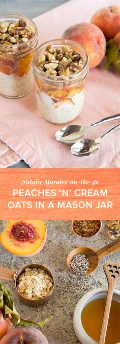 Looking for a healthy breakfast that's packed with flavor? Try this Nutty Peaches and Cream Overnight Oats in a Mason Jar