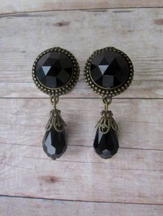 "Pair of Antique Brass and Black Rhinestone Dangle Plugs - Handmade Girly Gauges - by WhimsyByKrista on Etsy 1/2"", 9/16"", 5/8"" Plugs / Gauges"