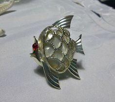 Faux MOP Lucite Angel Fish Brooch Pin by PopcornVintageByTann, $14.50
