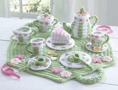 Little Girls Crochet Tea Set!