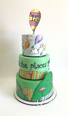 Dr Seuss, Oh the places you'll go. Graduation cake. By Jenelle's Custom Cakes.