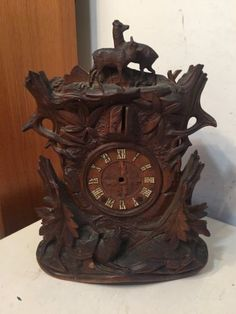 Rare-Antique-Beha-Style-Carved-Black-Forest-Cuckoo-Shelf-Clock-Case-Only