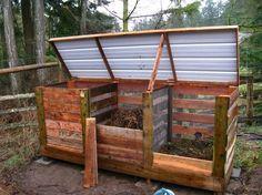 compostera con pallets,alambre tejido o malla plástica y tapa de chapa o plástico reciclado