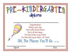Dr. Seuss Preschool Diploma with line for school. If you would ...