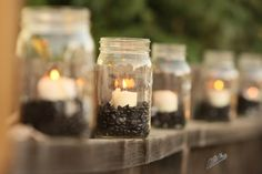 Mason Jars, Coffee beans and a candle