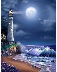 Create a dreamy focal point in any space with the Midnight Lighthouse wall mural. A beach framed with blooming flowers surrounds a lighthouse in this nautical image as full moon hangs in the deep blue sky. Free US shipping. Beautiful Moon, Beautiful Places, Murals Your Way, Lighthouse Painting, Lighthouse Pictures, Beach Frame, Pictures To Paint, Belle Photo, Pretty Pictures