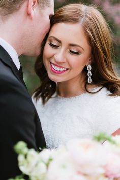 A hot pink lip: http://www.stylemepretty.com/utah-weddings/salt-lake-city/2016/05/25/pretty-pink-flowers-make-this-the-ultimate-spring-wedding/ | Photography: J.Taylor Photography - http://jtaylorphotography.com/
