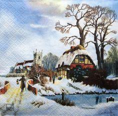 5  Servietten Winterlandschaft von DecoupageArt  auf DaWanda.com