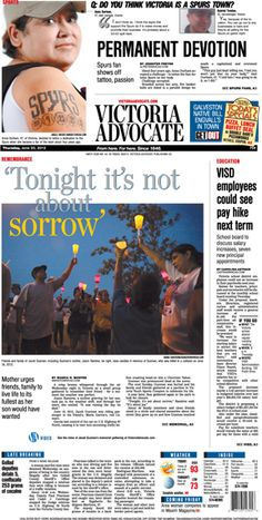 Here is the front page of the Victoria Advocate for Thursday, June 20, 2013. To subscribe to the award-winning Victoria Advocate, please call 361-574-1200 locally or toll-free at 1-800-365-5779. Or you can pick up a copy at one of the numerous locations around the Crossroads region.