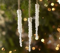 """How sweet - Mimicking the sparkling beauty of the real thing, our Crystallized Icicle Ornament transforms the tree into a wintry wonderland.   6.5"""" high; 3"""" cord   Made of plastic crystal beads.   Hangs from a white cord."""