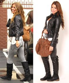 Pair over the knee boots with grey jeans & a leather jacket for an edgy look. Repin if you would wear this outfit!