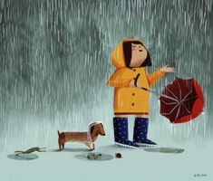 Stella in the rain. Illustration by Kirstie Edmunds Dachshund Funny, Arte Dachshund, Dachshund Love, Dachshunds, Daschund, Dachshund Puppies, Doggies, I Love Rain, Umbrella Art