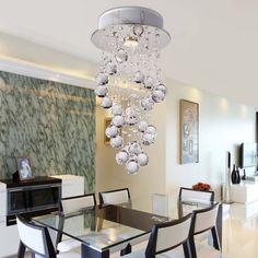 OOFAY LIGHT® Einfacher und eleganter moderner Kristallleuchter Draht hängen eine Lampe moderner Kristallleuchter Restaurant: Amazon.de: Beleuchtung