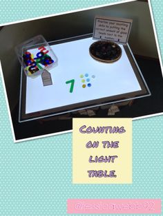 1:1 counting on the light table. EYFS