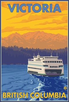 Ferry and Mountains  Victoria BC Canada Art by NightingaleArtwork