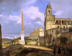 """""""La Trinité des Monts et la Villa Médicis, à Rome"""".  (1808). (by François Marius Granet).  Museu do Louvre."""