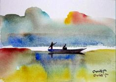 Artist: Sam Ovraiti Medium: Watercolour Theme: Untitled Size: 18 x 25 cm #african #art