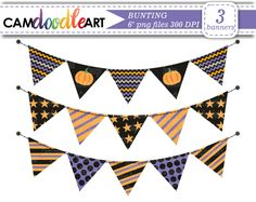 Halloween Bunting Clipart,Banner Flags,Purple Orange Black Bunting,Scrapbooking Clipart,Cardmaking Clipart,Instant Download Clipart,png file by CamDoodleArt on Etsy