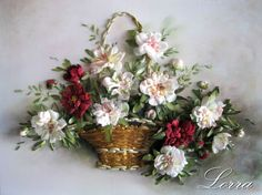 White and red wild roses in a basket #ribbonEmbroidery