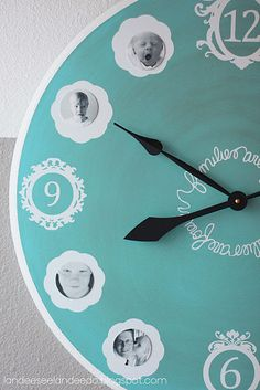clock makeover using vinyl . . . and if you use Square1 printable material you can change the photos out as the kids grow!