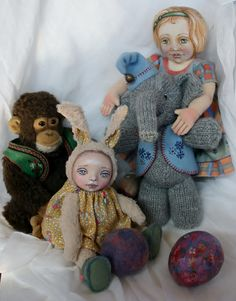 One vintage Steiff monkey and some vintage-inspired dolls and toys made by me.