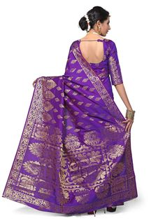 Blue Colour Banarasi Art Silk Woven Work Saree With Unstitched Blouse Piece