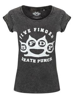 Amazon.com: Five Finger Death Punch T Shirt Knuckles logo Official acid wash Junior Fit 10: Clothing